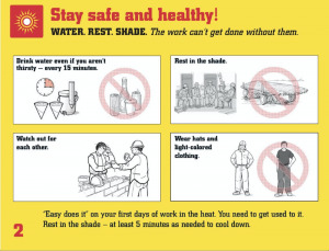 Heat Safety Tips: Water, Rest, Shade