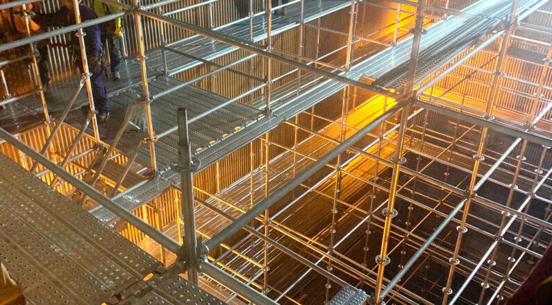 Boiler scaffold, confined space scaffolding